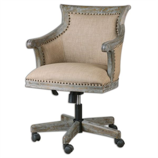 Beige linen upholstered hardwood swiveling desk chair with for Upholstered desk chairs with wheels