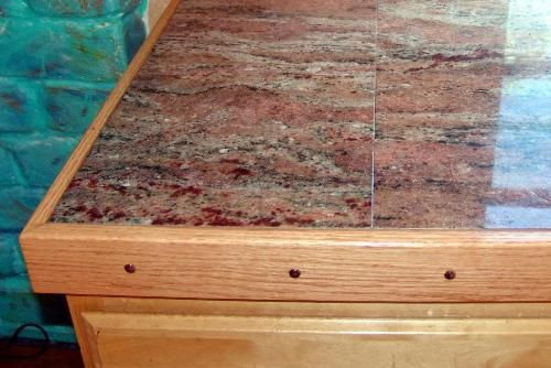 Wooden Plank Tiles As Bathroom Counter Top With A Real Wood Trim To Finish The Raw Edge