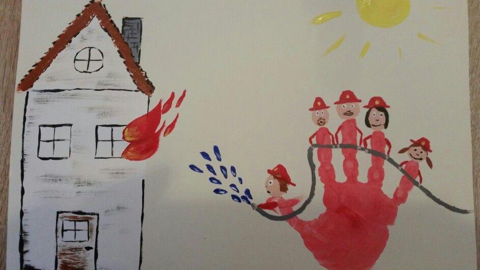 Handabdruck Feuerwehr 3 Kinder Feuerwehr Muttertag Basteln Bastelarbeiten