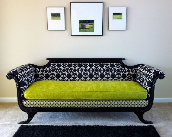 Antique Duncan Phyfe Sofa Redesigned For Modern Times In Shocking Chartreuse