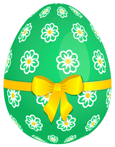 Green Easter Egg With Flowers And Yellow Bow Png Picture Easter Egg Pictures Easter Images Easter Pictures