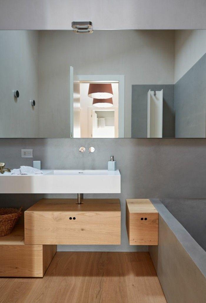 Elegant Fugenloses Bad Graue Wände Hölzerne Einrichtung Schöner Bodenbelag