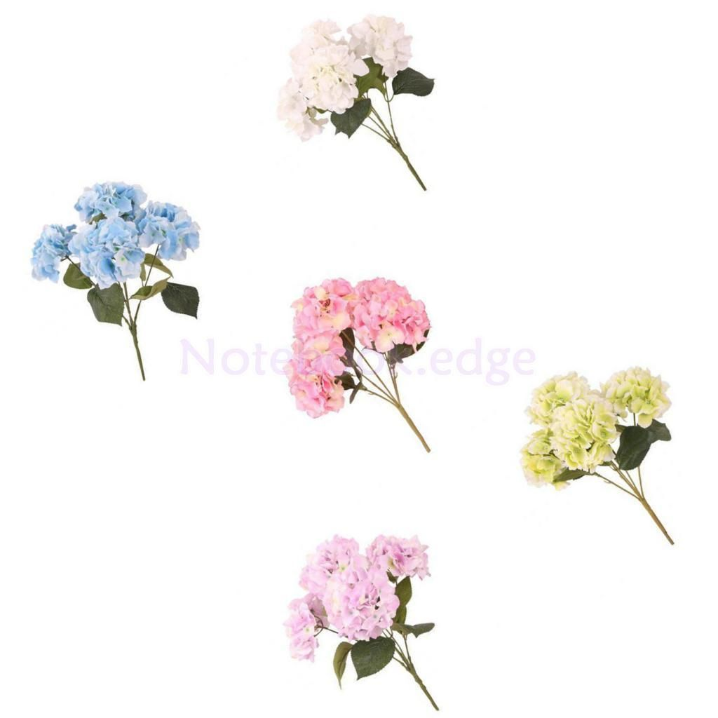 5 Bunches Artificial Hydrangea Silk Flower Home Table Wedding Floral