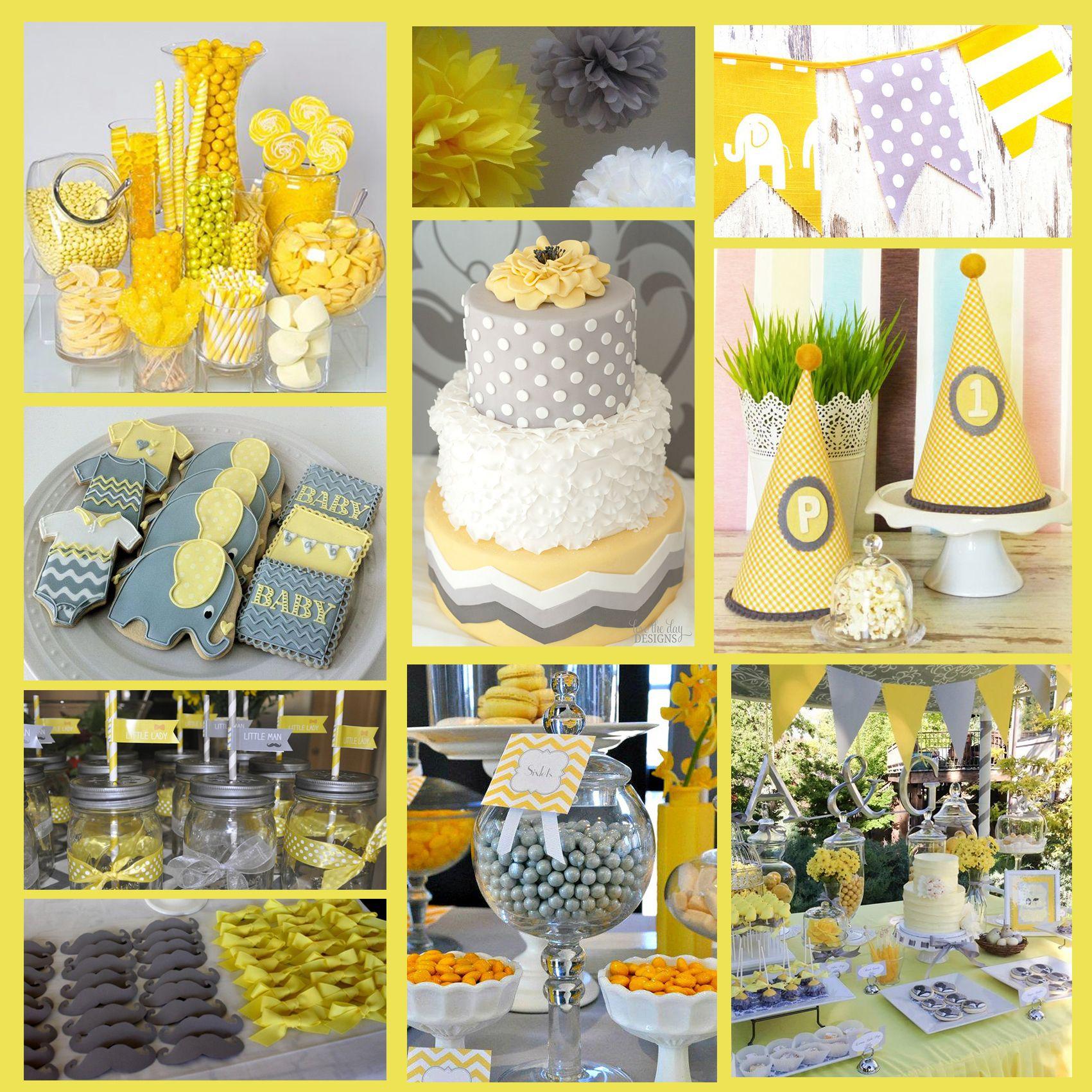 Descoracion para fiesta en amarillo y gris bautismo - Decoracion en amarillo ...