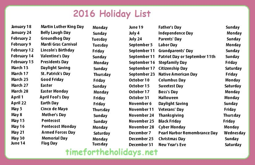 Calendar Holidays.2016 Holiday Calendar Time For The Holidays Interest August