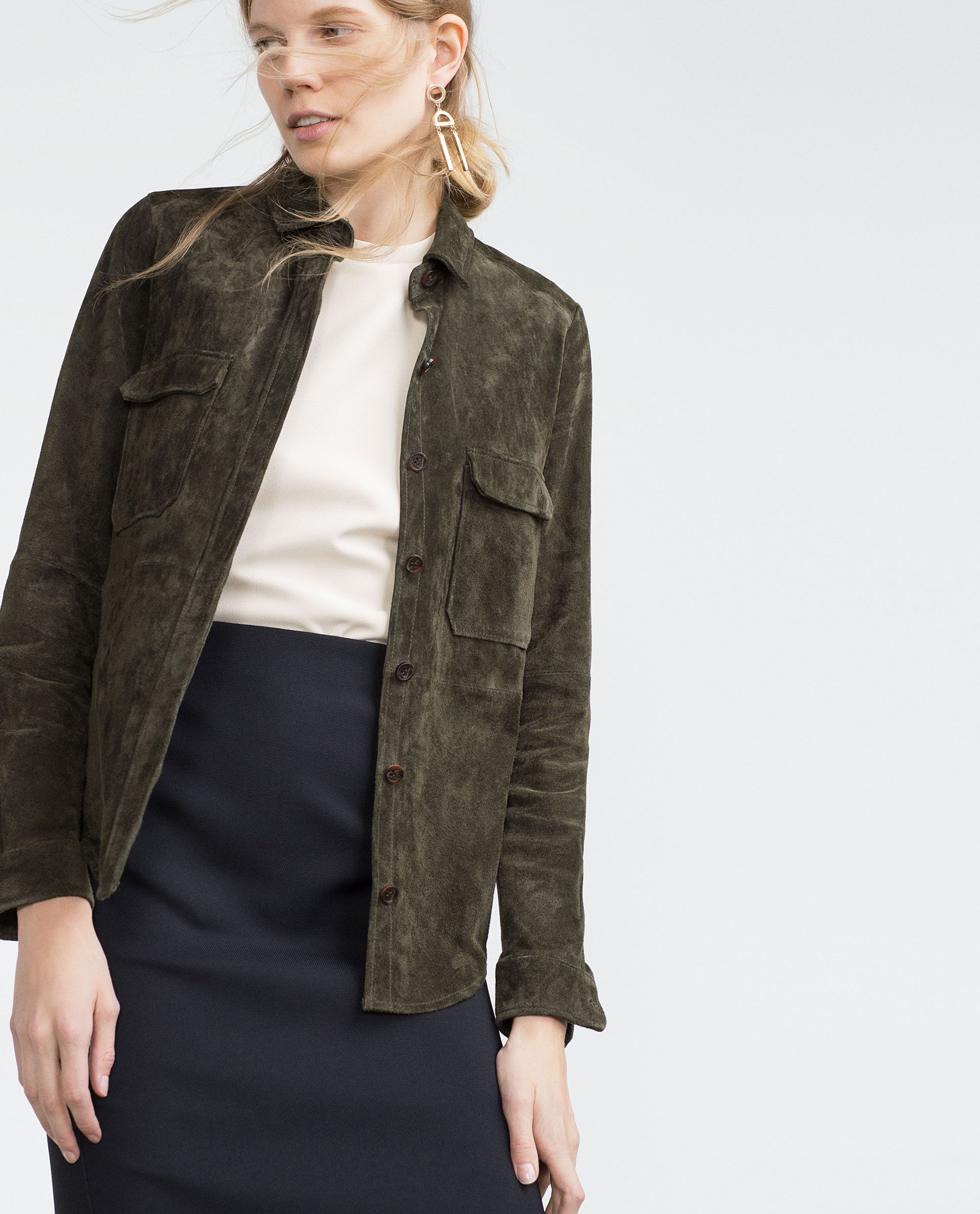 Zara Leather Shirt Suede shirt, Leather shirt, Spy outfit