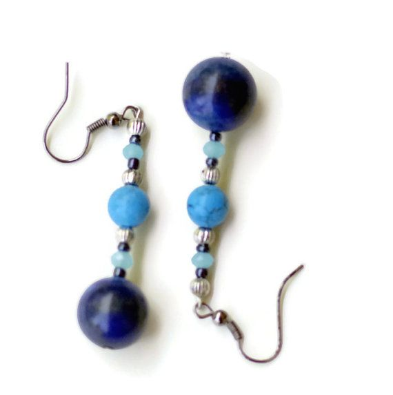 Blue  Semiprecious Lapis Lazuli Turquoise Dangle by ALFAdesigns, $12.99