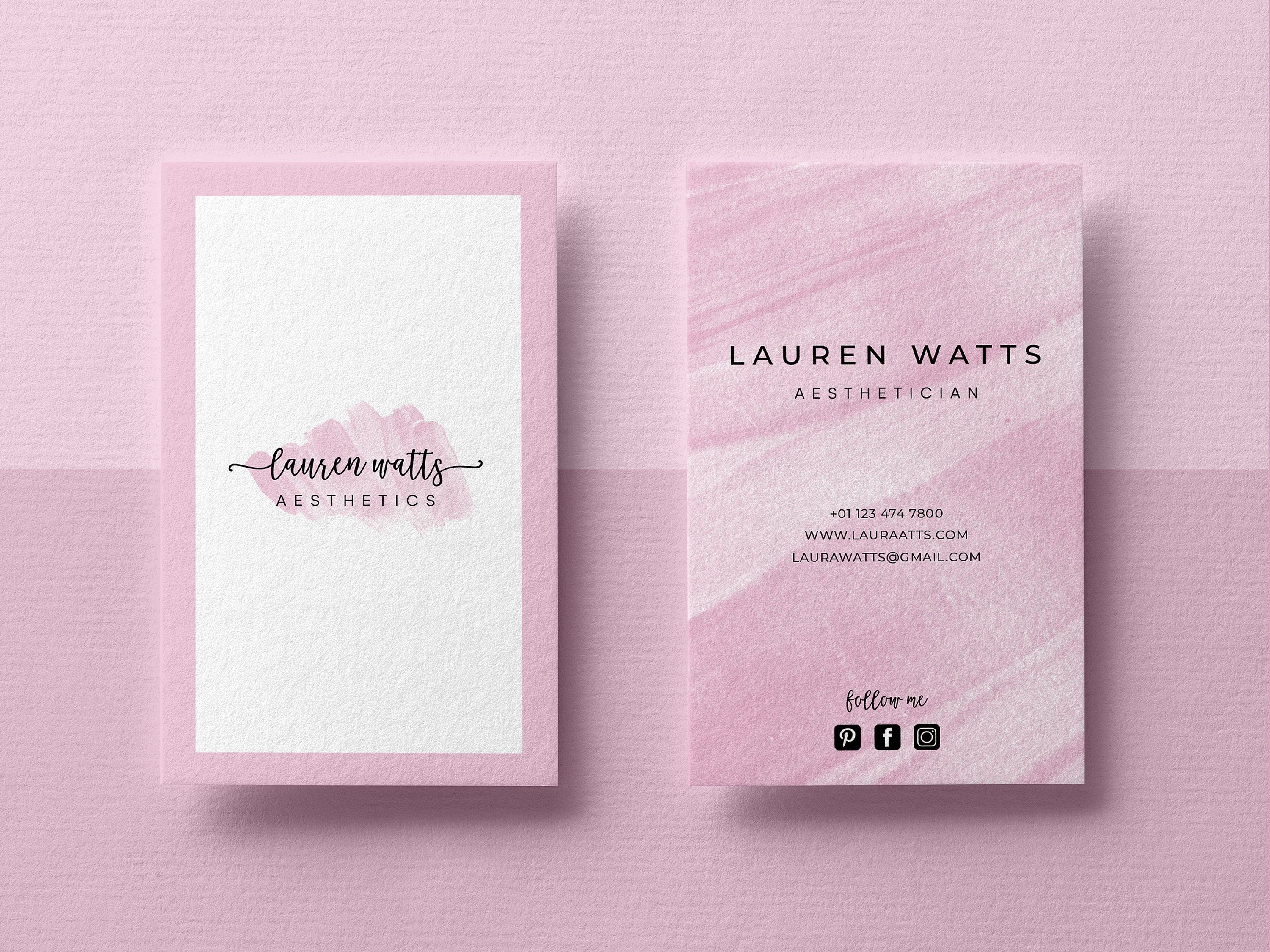 Business Card Template Custom Business Cards Business Card Etsy Business Card Design Simple Business Cards Watercolor Minimalist Card Design