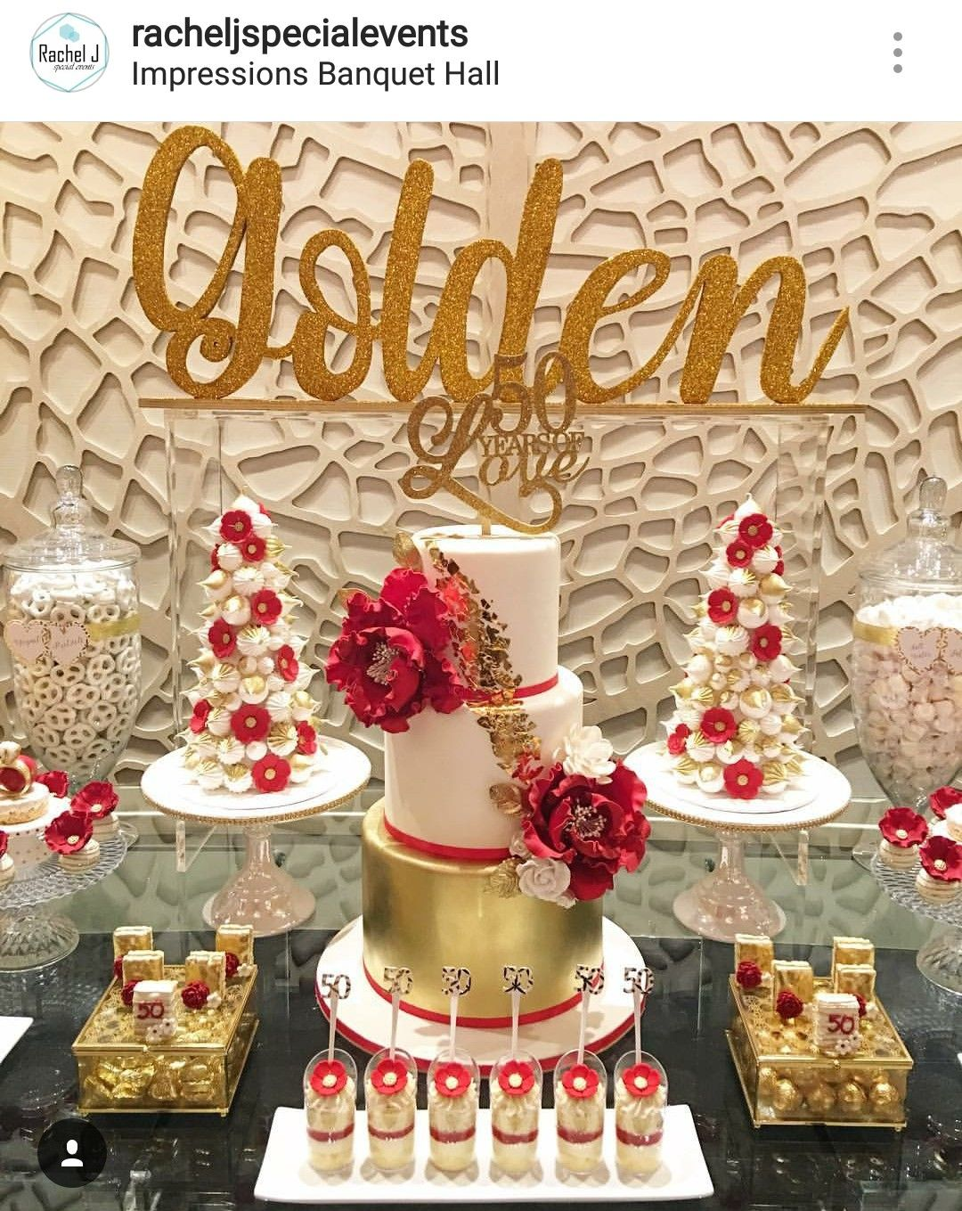 Golden 50th Birthday Party Dessert Table And Decor