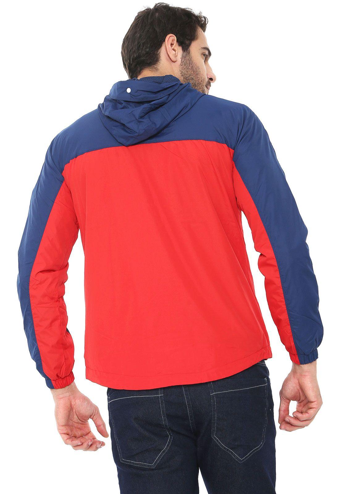 Jaqueta Corta Vento Jack   Jones Color Block Vermelha Azul-marinho ... 6f3e6426594