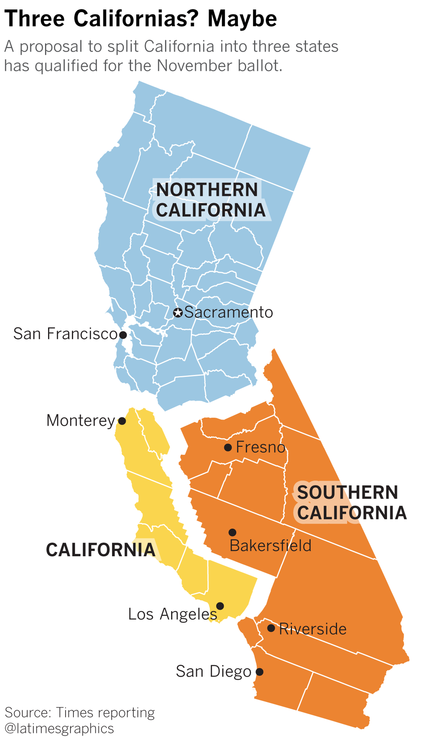 Radical Plan To Split California Into Three States Earns Spot On November Ballot California Map California Illustrated Map
