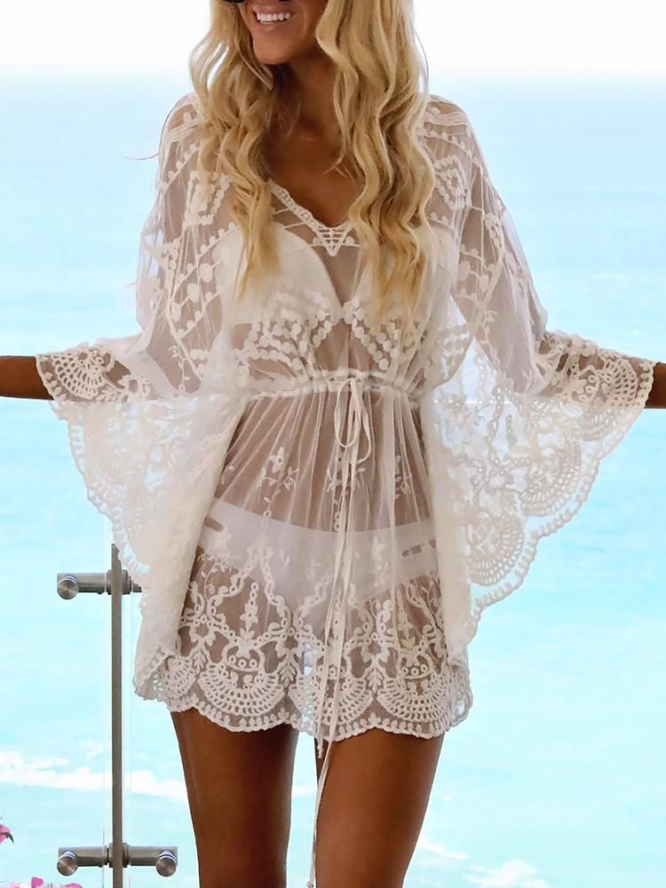 9647a20258 Bohemian Lace See-Through Cover Up. Cute bohemian cover ups, Sexy Beach  summer fashion. Cruise outfits & Summer looks. Hot summer outfits.