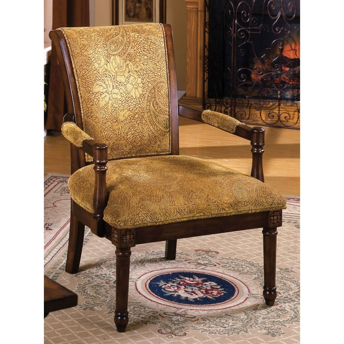 Accent Meubles Levasseur Samuel Armchair Brown Products Chair Wood Accents Fabric
