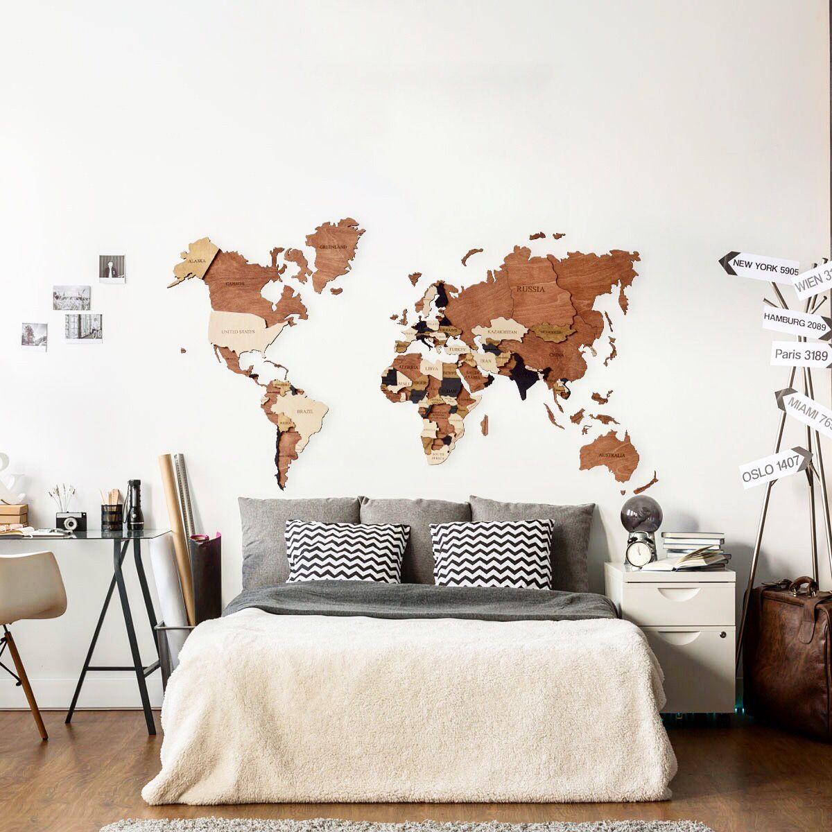 Rustic World Map Multi Panel Canvas Wall Art Wall Canvas Map Wall Decor World Map Wall Art