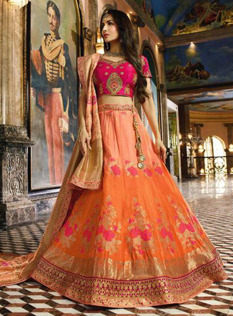 754b8ce367 Buy Malaika Arora Orange Banarasi Silk Bollywood Lehenga 148458 online at  best price from vast collection of Lehenga Choli and Chaniya Choli at ...