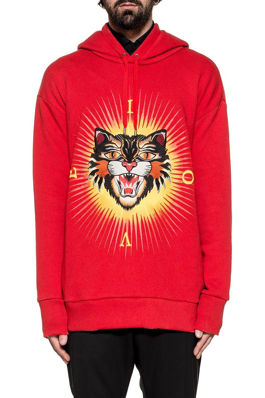 a1afdb8c9 GUCCI RED ANGRY CAT HOODED SWEATSHIRT. #gucci #cloth # | Gucci Men ...