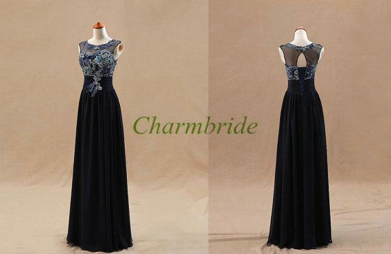 unique tulle chiffon embroidered prom dresses with by Charmbride, $128.00