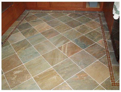 Slate Floor Tile   Diamond Pattern