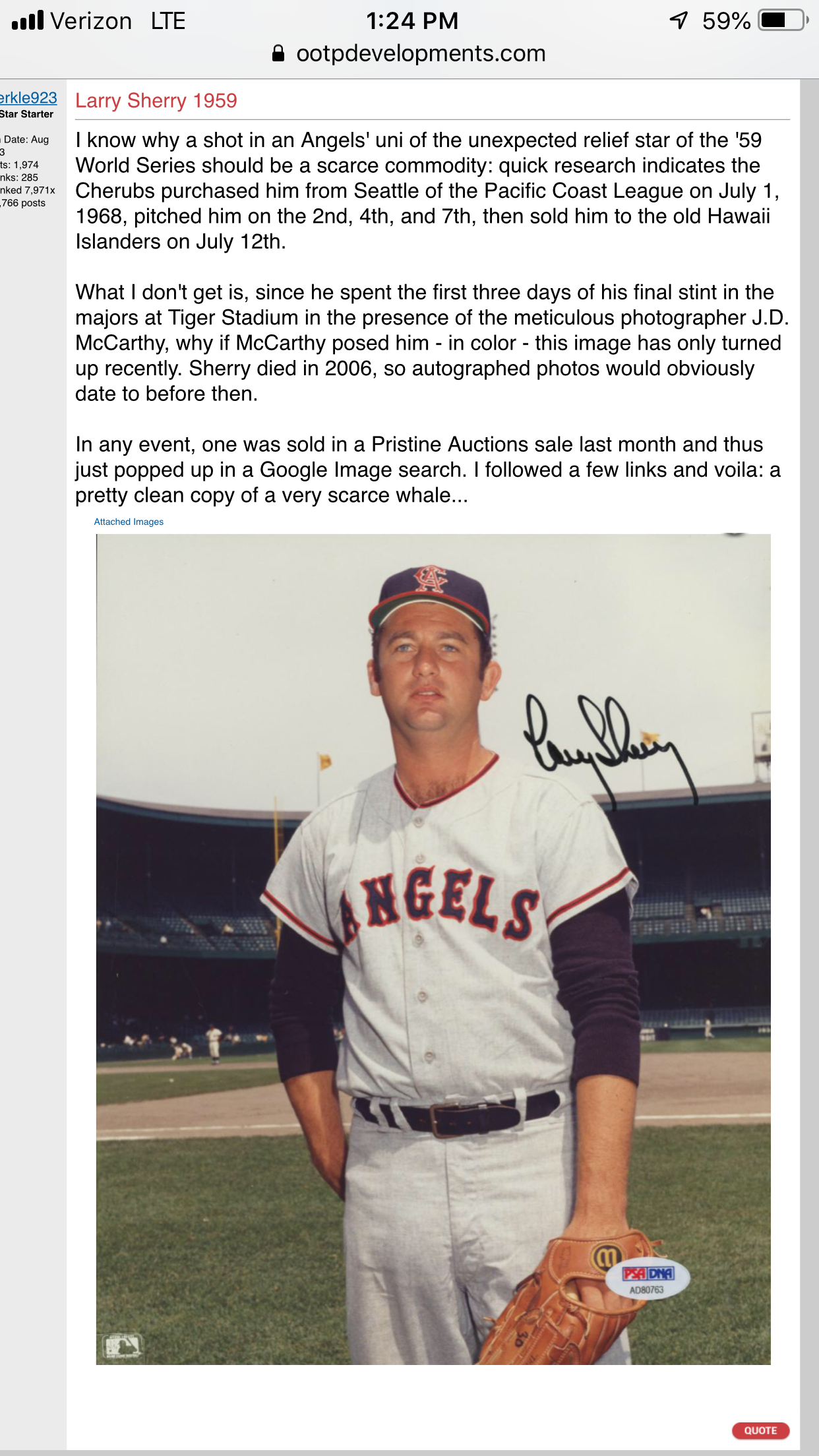 Larry Sherry Los Angeles Angelscalifornia Angels Mens Tops
