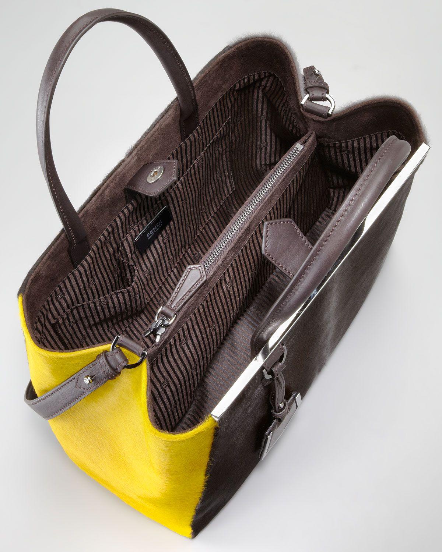 2Jours Calf Hair Tote Bag, Brown-Yellow-Iron Fendi