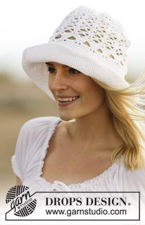 """Hæklet DROPS hat i """"Muskat"""" med hulmønster. ~ DROPS Design"""