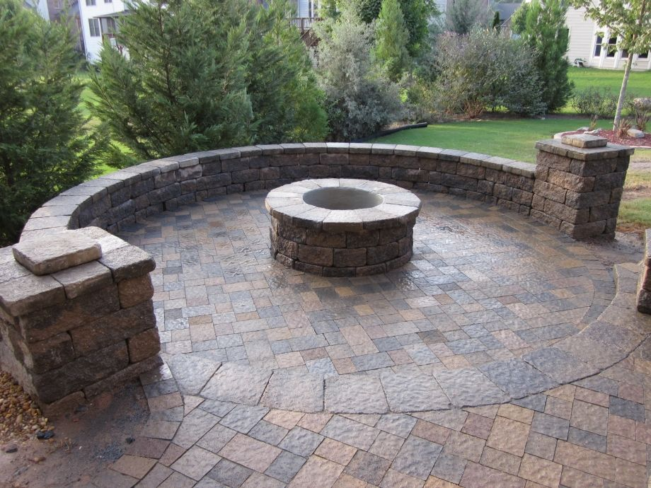 Paver Patio Seating Walls And Firepit Residential Walls And