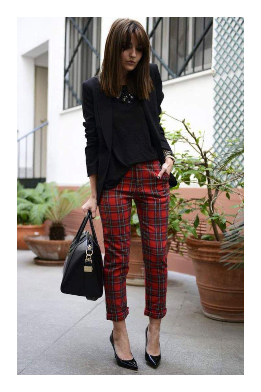 4 Pares De Zapatos Negros Que Debes Tener En Tu Guardarropa Tizkka Pantalones De Cuadros Pantalon Cuadros Mujer Pantalones Estampados Outfits