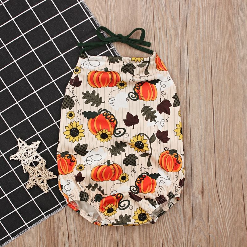 58278610bd28 2018 Summer Infant Baby Girl Floral Pumpkin Rompers Jumpsuit Clothes Outfit  Hot New Cartoon sunflower backless