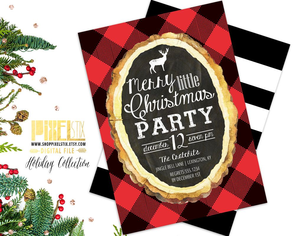 Flannel Christmas Party Invitation, Christmas Party Invite, Buffalo ...