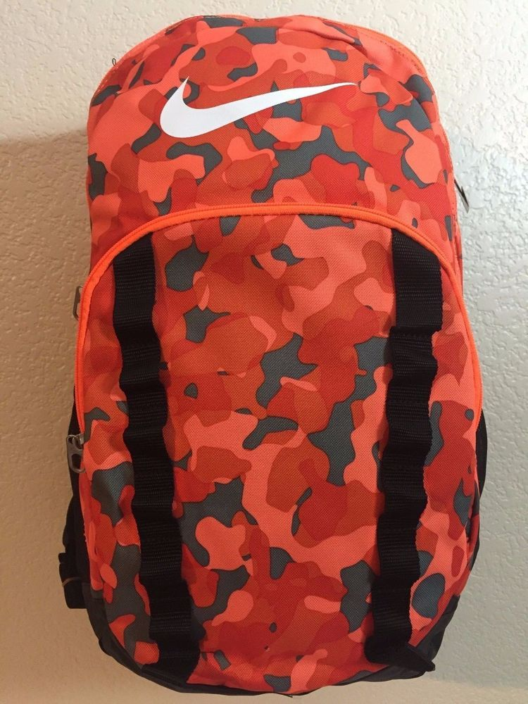 e2056ac6c999 NIKE Brasilia 7 Orange Black Camouflage Graphic XL Backpack 3 Large  compartments  Nike  Backpack