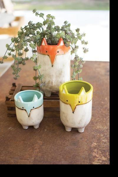 Photo of Kalalou Ceramic Fox Planters – Set Of 3
