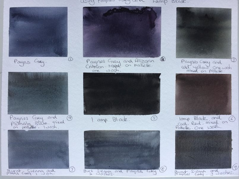 Paynes Grey Black Mixes Color Mixing Chart Color Mixing