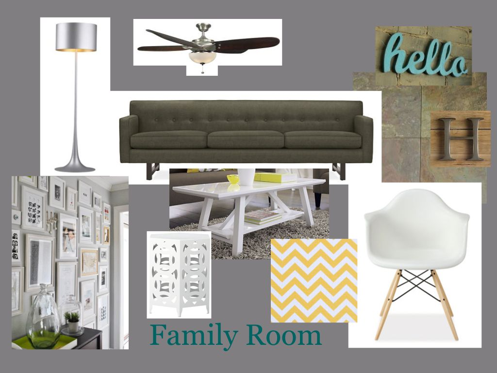 grey and yellow family room design