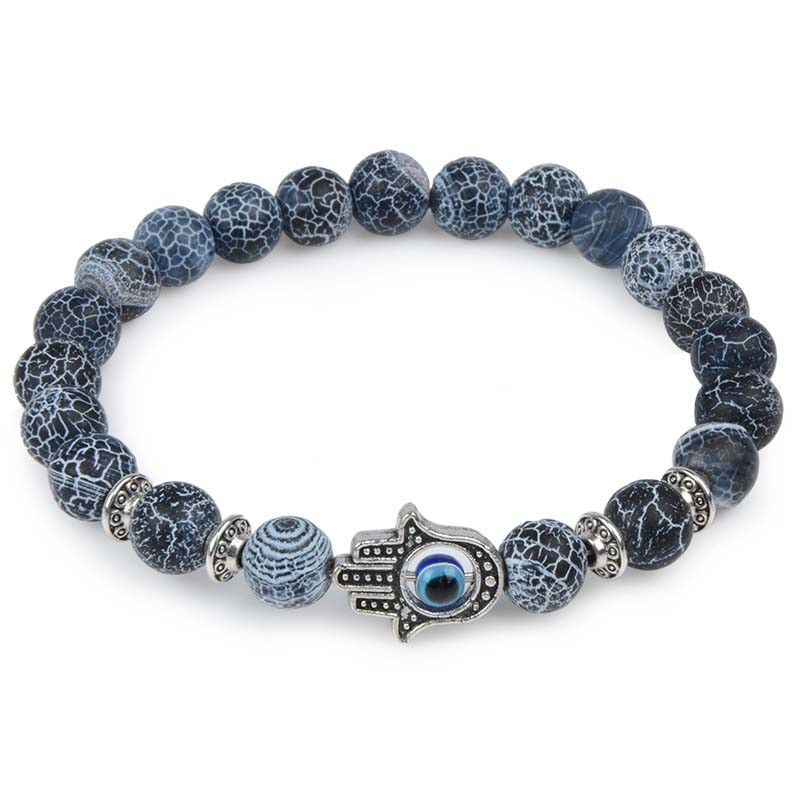 1X Fashion Man/'s Natural Lava Stone Agate Bracelet Charm Bracelet Jewelry 8mm