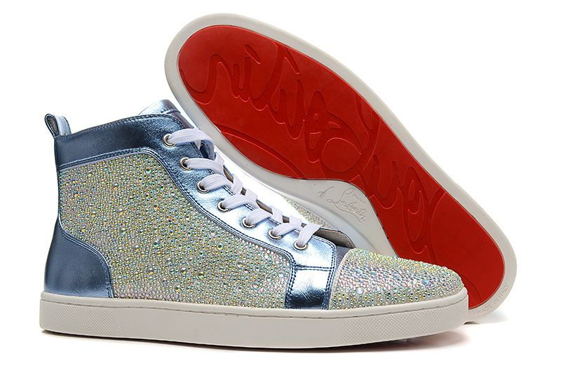 083934d3353 Christian Louboutin Louis Strass Crystal Colour Blue Sneakers ...