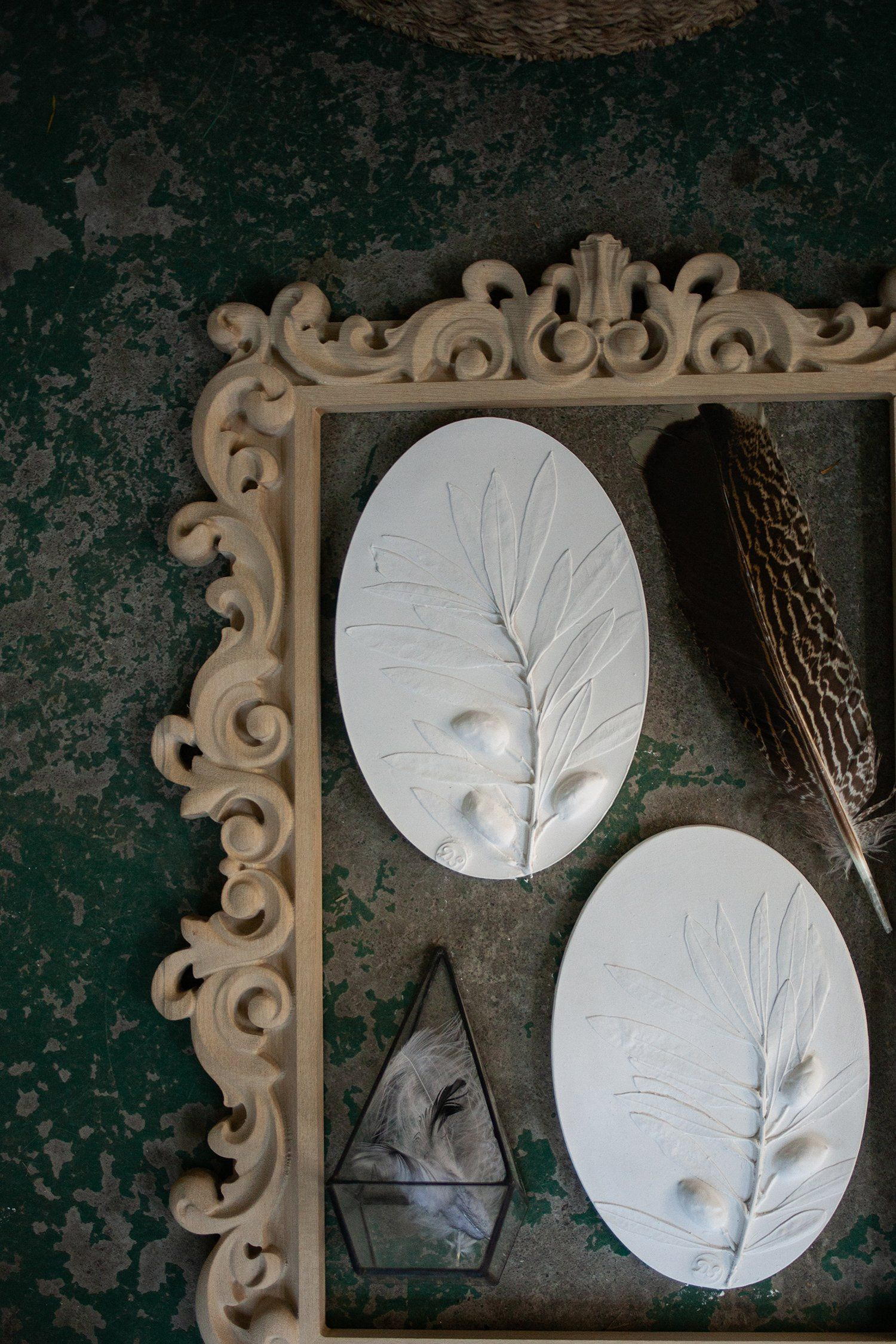 Oval Pressed Plants Olive Wall Decor Mediterranean Wall Art
