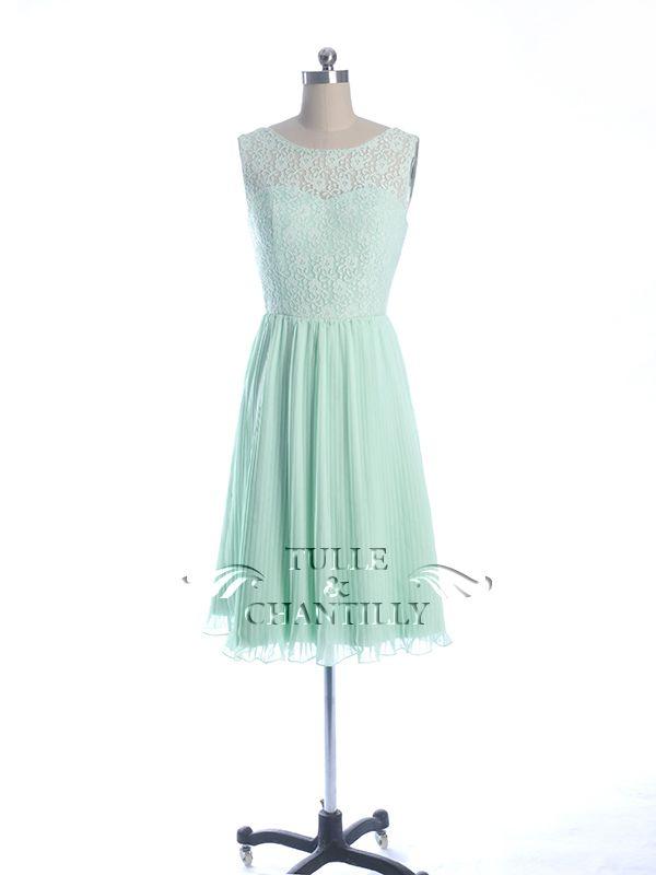 Lace And Chiffon Bateau Neck Bridesmaid Dress TBQP296