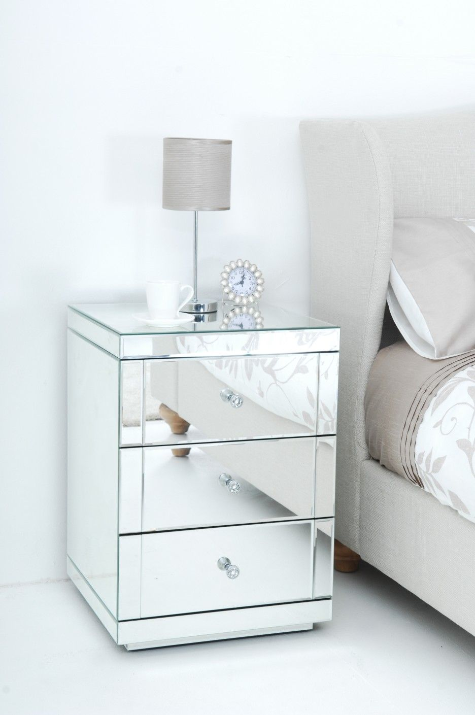 Furniture. Square Mirror Bedside Table With Three Drawers And Round Acrylic  Knobs Combined With Small Reading Lamp. Fabulous Unusual Bedside Tables For  Make ...