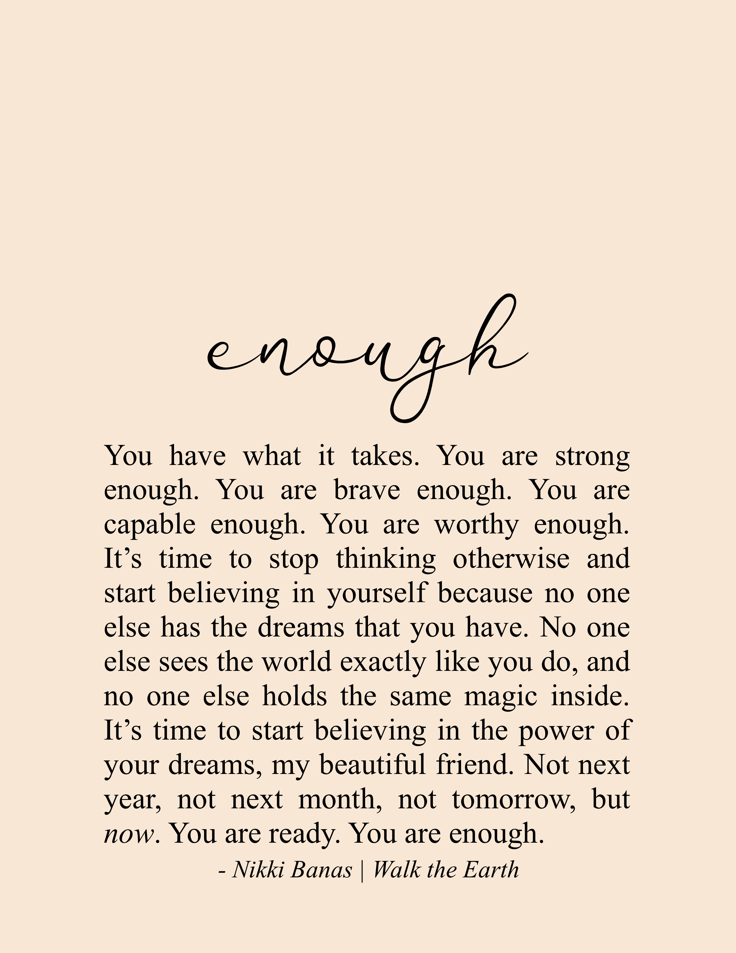 You are Enough Quote, Inspiration & Encouragement, Nikki Banas