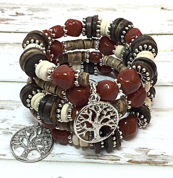 Tree of Life Bracelet - Memory Wire Bracelet - Beaded Boho Bracelet - Wood Bead Bracelet - Girlfriend Gifts - Boho Beaded Bracelet