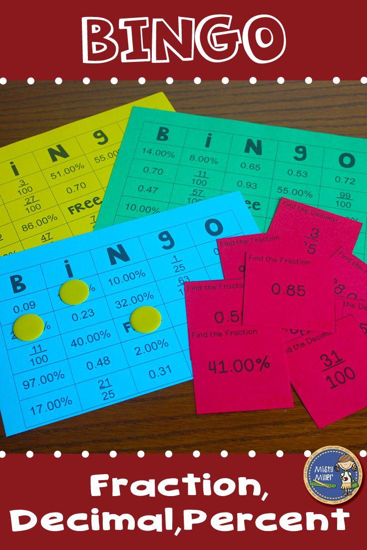 Fractions Decimals Percents BINGO Math Game | Percents, Math and ...
