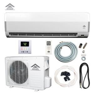 Amvent Elite 12 000 Btu 1 Ton Ductless Mini Split Air Conditioner 110 Volt 60hz A37gw2c Elt The Home Depot Ductless Mini Split Central Air Conditioning System Ductless