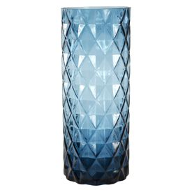 Blue Deco Collection Faceted Glass Vase Art Dunelm Gatsby
