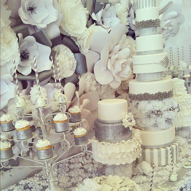 .@Kerri Cupcake | Dessert table- lots of white and bling! Every girls dream come true- and we e...