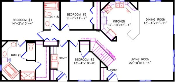 3 Bedroom Floor Plan 28x60 Like The Closet Amp Stairs By Front Door Kitchen Needs Some Changes