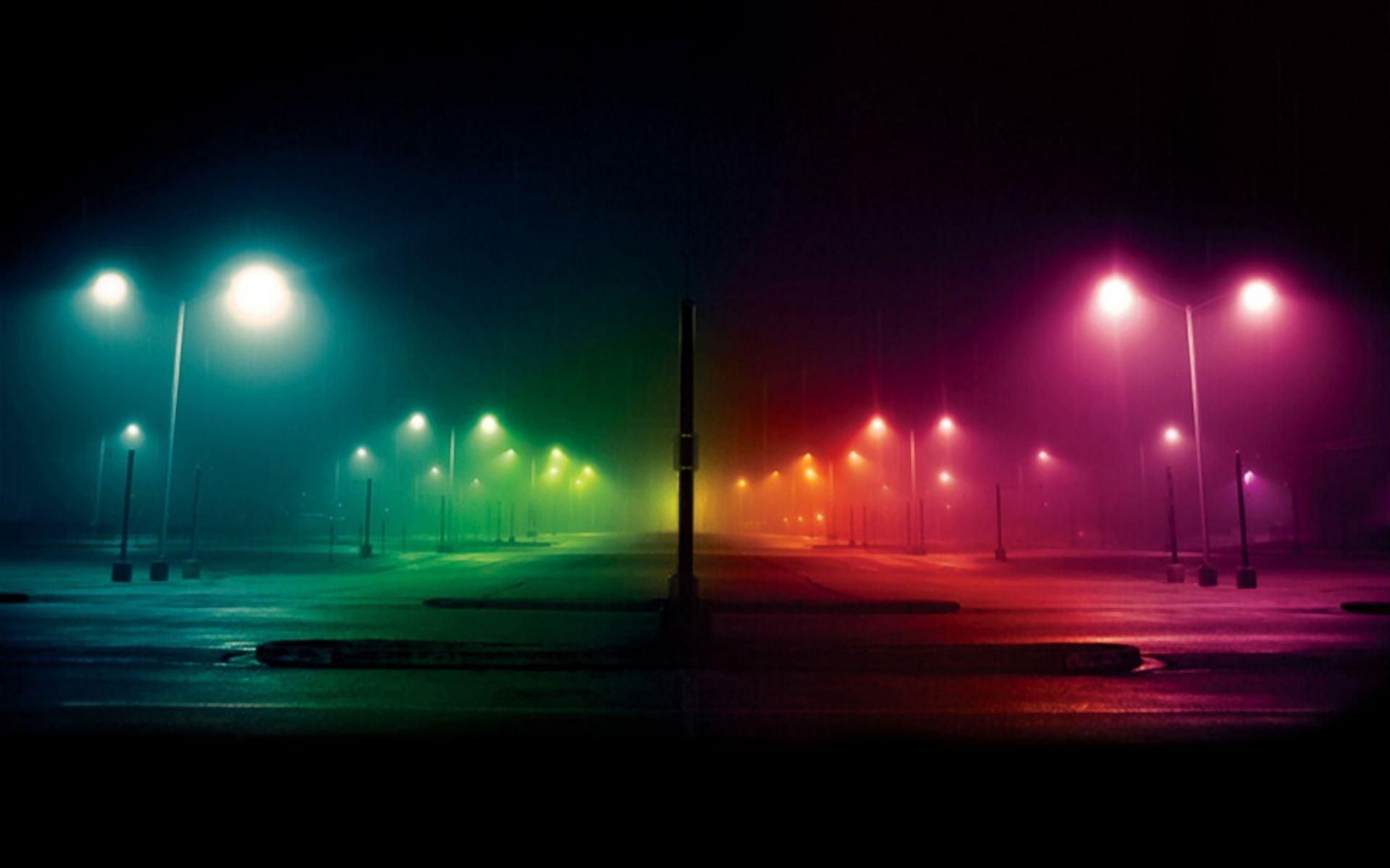 Rainbow street lights.
