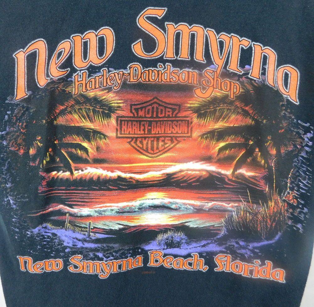 Harley Davidson Motorcycles New Smyrna Beach Florida T Shirt M Black