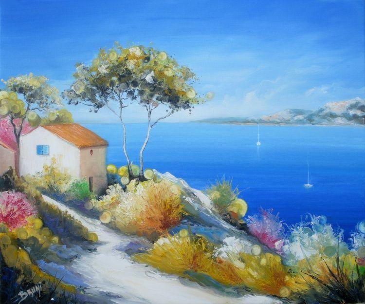 Chemin En Bord De Mer Par Bruni Eric Peintre Paysagiste