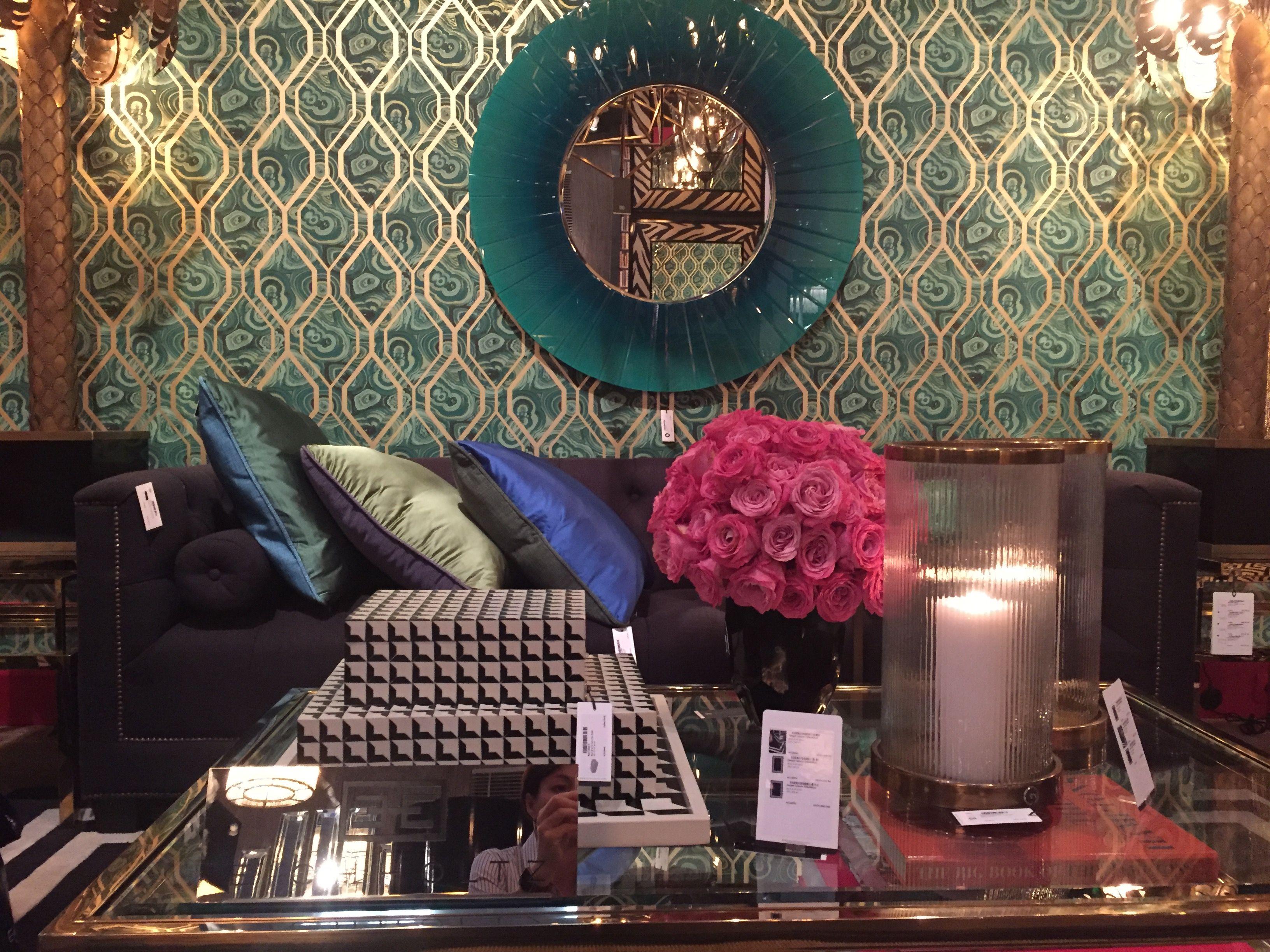 Интерьер, Декор Гостиная Зеркало диван столик Обои Бирюзовый Арт ...