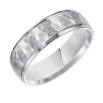 6mm Comfort Fit Hammered Finish Wedding Band In 14k White Gold